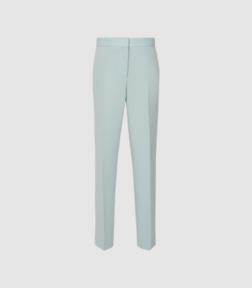 Reiss Laura - Crepe Slim Fit Trousers Soft Blue, Womens, Size 4 Trouser
