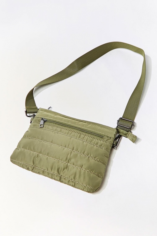 Forever21 Channel-Stitched At Forever 21 , Green Crossbody Bag