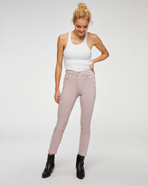 7 For All Mankind Womens High Waist Ankle Skinny Soft Lavender Size: 33 Trouser