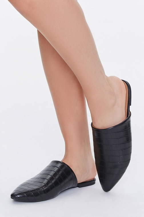 Forever21 Forever 21 Faux Croc Leather Mules , Black Shoes