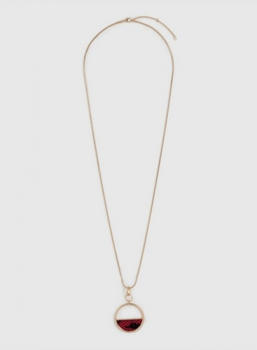 Dorothy Perkins Pink Snake Print Long Pendant Necklace