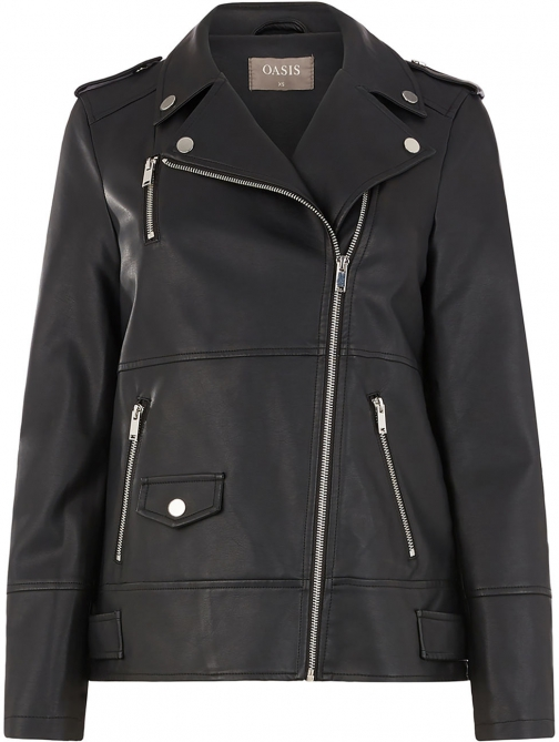 Oasis LONG FAUX LEATHER Biker Jacket