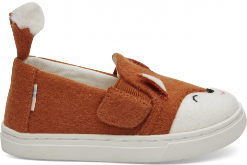 Toms Orange Felt Fox Face Tiny TOMS Luca Slip-Ons Shoes