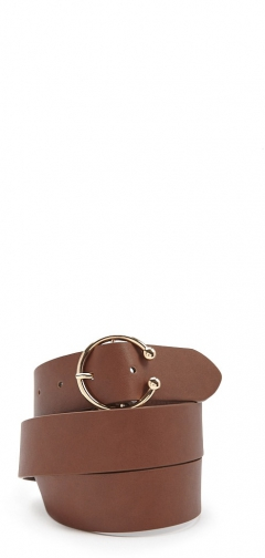 Forever21 Forever 21 Faux Leather Half-Circle Buckle Brown Belt