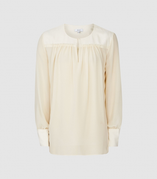 Reiss Indie - Semi Sheer Smock Ivory, Womens, Size 8 Blouse