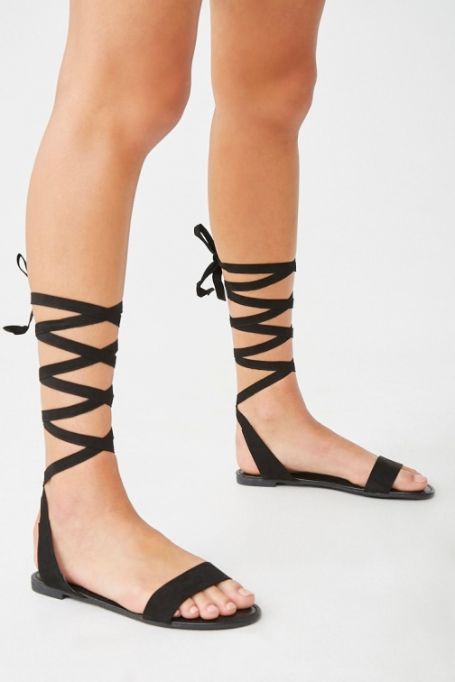 Forever21 Forever 21 Lace-Up , Black Flat Sandals