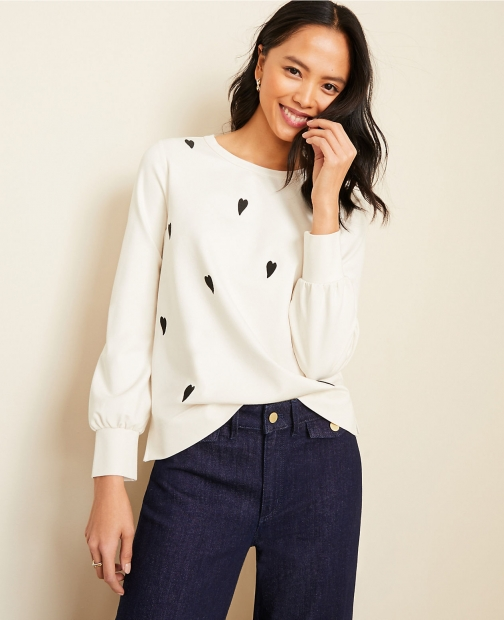 Ann Taylor Embroidered Heart Sweatshirt
