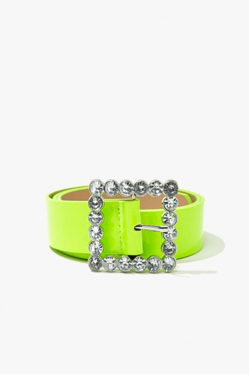 Forever21 Forever 21 Faux Patent Leather Waist , Neon Yellow Belt