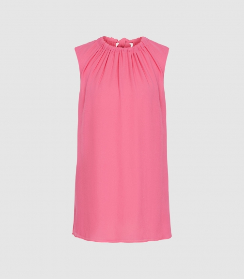 Reiss Lena - Bow Detail Top Pink, Womens, Size 4 Shirt