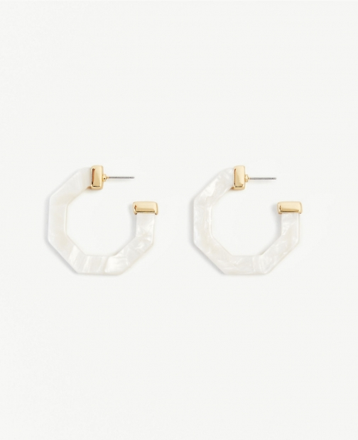 Ann Taylor Marbleized Hexagon Hoop Earring