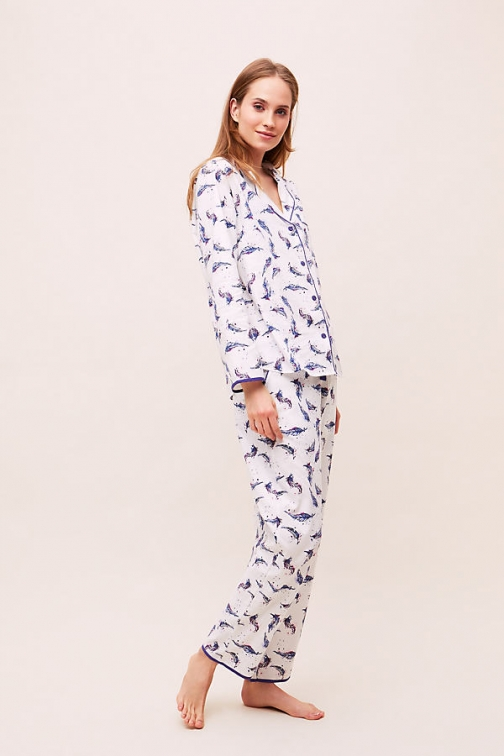 Anthropologie Feather-Print Sleep Trousers Trouser