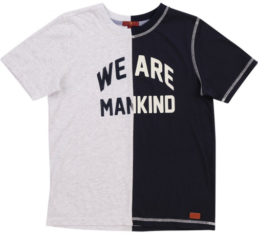 7 For All Mankind Men's Boy's S-XL Tee Heather Grey And Indigo T-Shirt