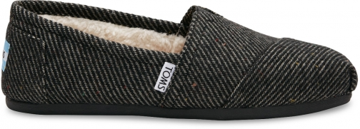 Toms Black And White Wool Women's Classics Slip-On Shoes