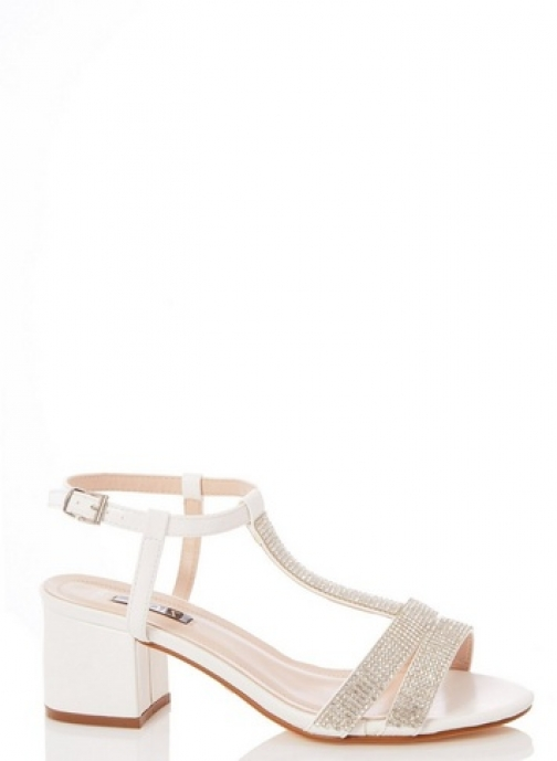 Quiz White T-Bar Block Heeled Sandals