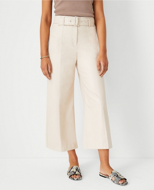 Ann Taylor The Faux Leather Belted Culotte Pant Trouser