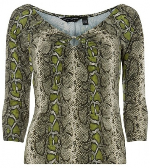Dorothy Perkins Green Snake Print Front Top Ring