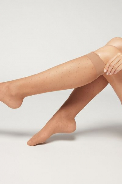 Calzedonia Patterned Knee-high Woman Nude Size TU Sock