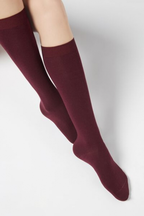 Calzedonia Long Cotton With Cashmere Woman Burgundy Size 39-41 Sock