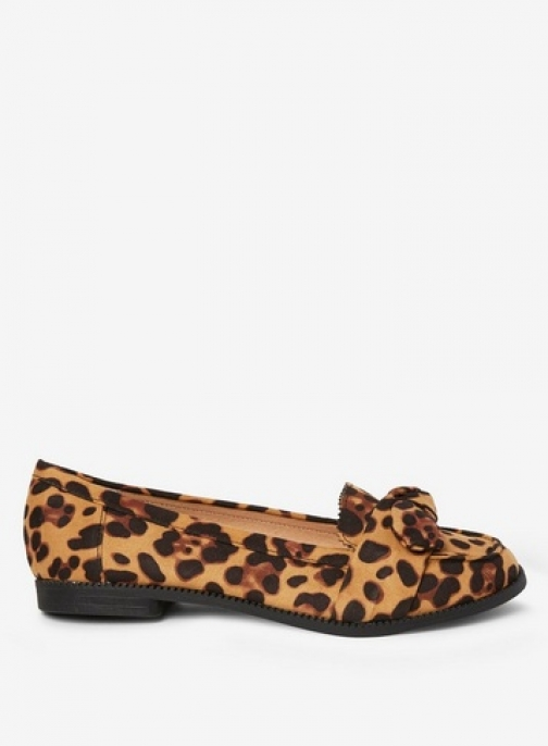 Dorothy Perkins Womens Wide Fit Leopard 'Leah' Bow - Leopard, Leopard Loafer