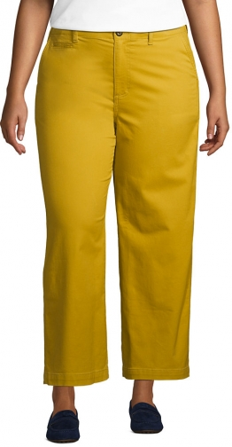 Lands' End Women's Plus Size Mid Rise Wide Leg Ankle Pants - Lands' End - Yellow - 16W Chino