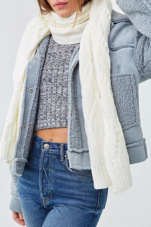 Forever21 Forever 21 Cable Knit Oblong , Cream Scarf