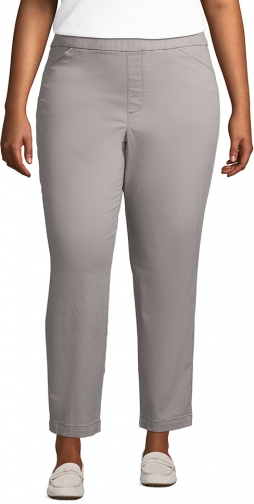 Lands' End Women's Plus Size Mid Rise Pull On Ankle Pants - Lands' End - Gray - 20W Chino