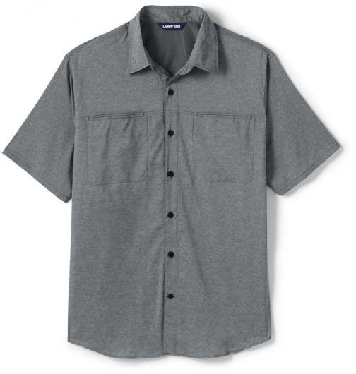 Lands' End Men's Traditional Fit Short Sleeve Outrigger Hiking - Lands' End - Gray - S Shirt