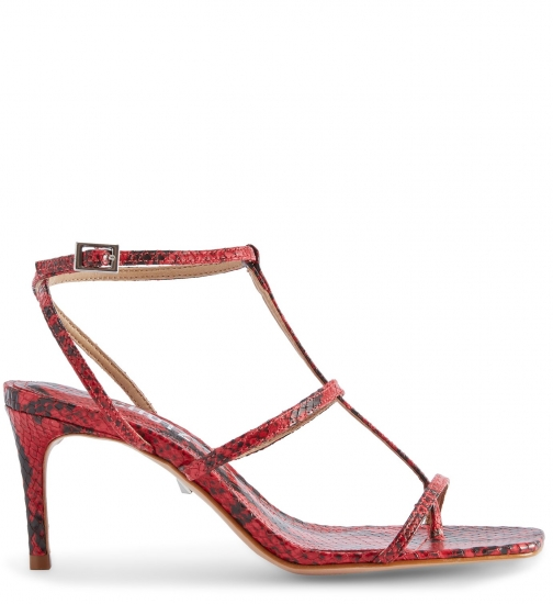 Schutz Shoes Ameena Sandal - 6 Scarlet Snake Snake Embossed Leather Sandals