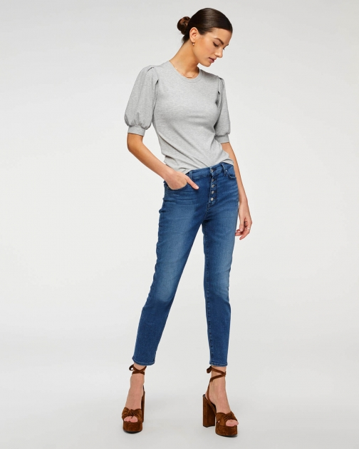 7 For All Mankind Womens B(air) High Waist Ankle Skinny Peace Blue Size: 24 Trouser