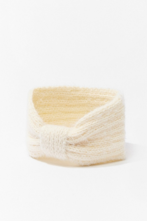 Forever21 Forever 21 Knit Bow Headwrap , Cream Headwear
