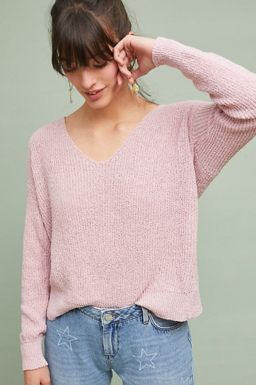 Anthropologie Knotted Back - Pink, Size Pullover