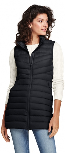 Lands' End Women's Ultra Light Long Down Packable Vest - Lands' End - Black - XS Top