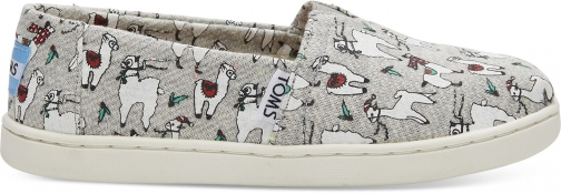 Toms Grey Fleck Jersey Fa-La-Llama Youth Classics Slip-On Shoes