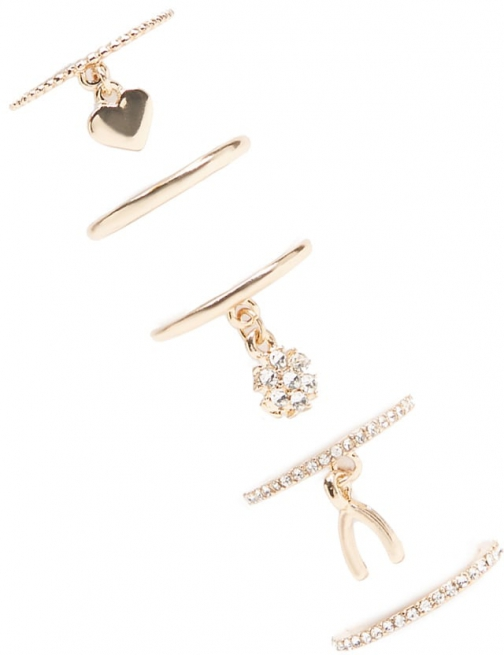 Forever21 Forever 21 Ring Set , Gold/clear Charm