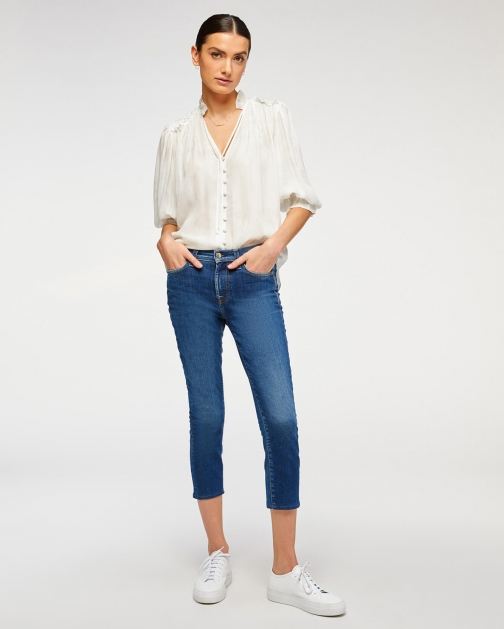 7 For All Mankind Womens The Ankle Skinny Venus Blue Size: 25 Trouser