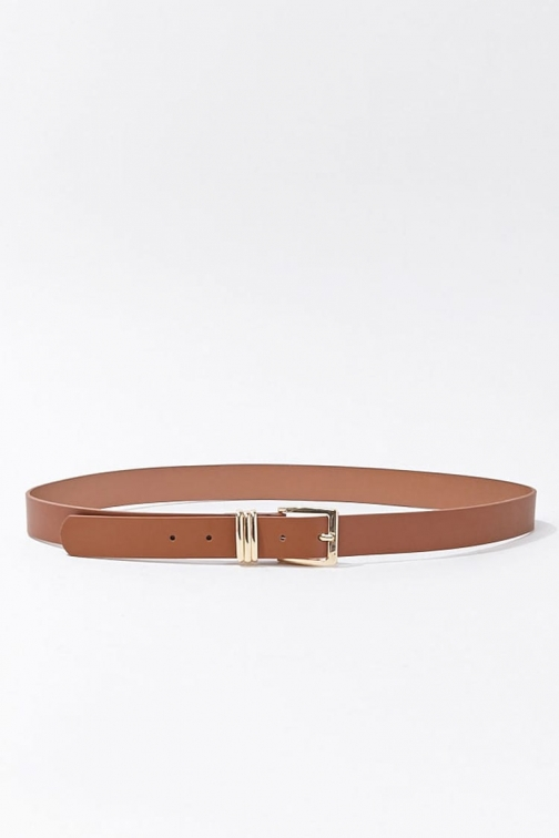 Forever21 Forever 21 Square Buckle Faux Leather , Brown/gold Belt