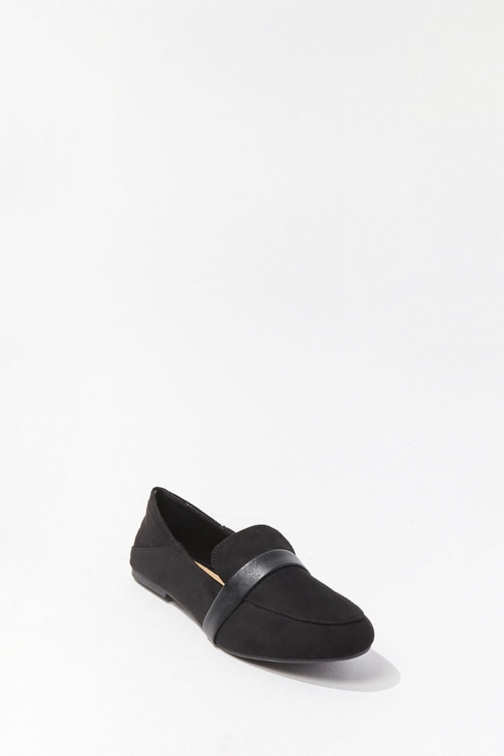 Forever21 Forever 21 Faux Suede Loafers , Black Shoes