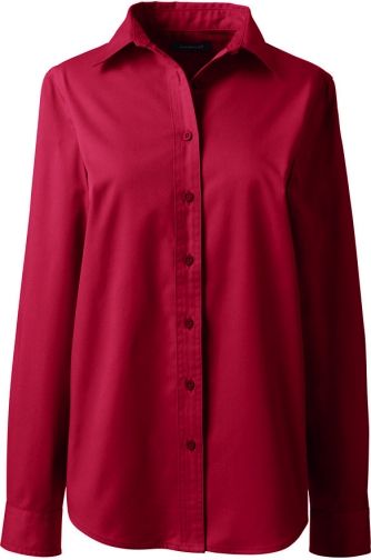 Lands' End Women's Long Sleeve Basic Twill - Lands' End - Red - XS Shirt