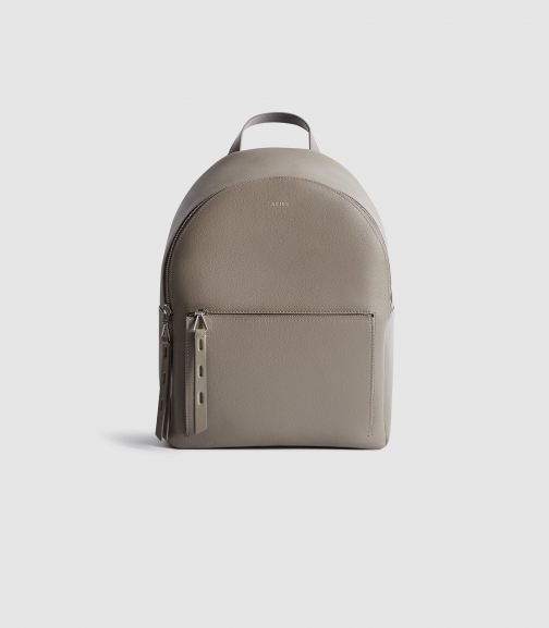 Reiss Grace - Textured Leather Grey, Womens Backpack