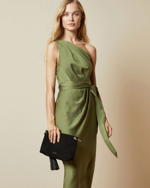 Ted Baker One Shoulder Drape Midi Dress