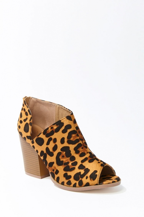 Forever21 Forever 21 Leopard Print Open-Toe Booties , Black/brown Boot