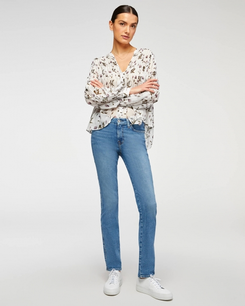 7 For All Mankind Womens Kimmie Straight Sunlight Blue Size: 23 Trouser