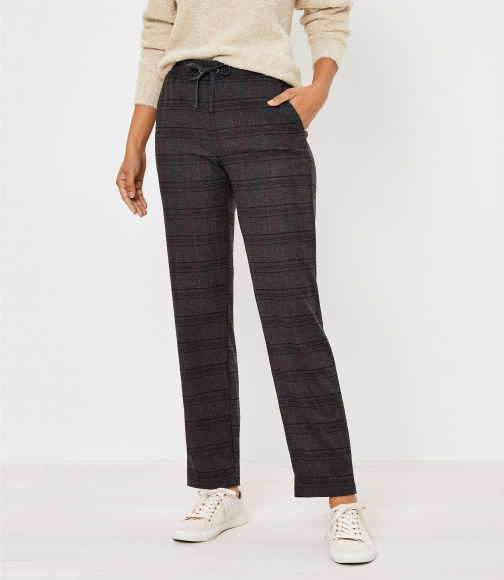 Loft Tapered Pull On Pants Brushed Flannel Trouser
