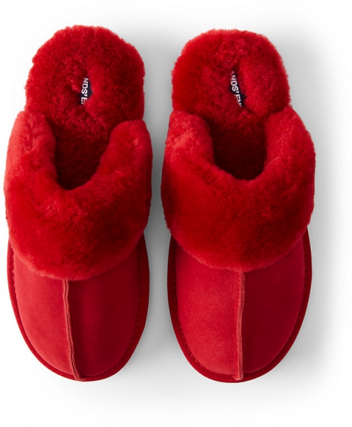 Lands' End Draper James X Lands' End Women's Suede Leather Shearling Fur Scuff - Red - 6 Slippers