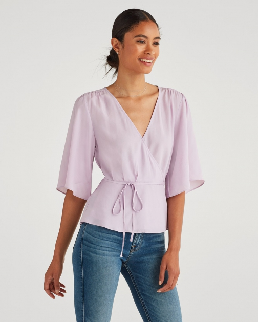 7 For All Mankind Women's Wrap Front Top Sweet Lilac Shirt
