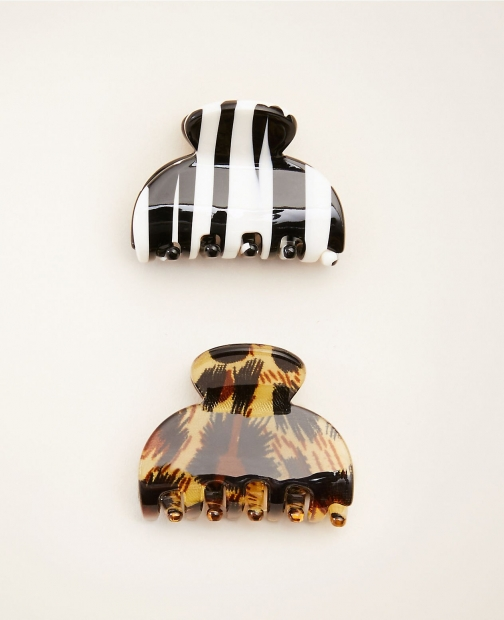 Ann Taylor Animal Print Claw Hair Clip Set Headwear