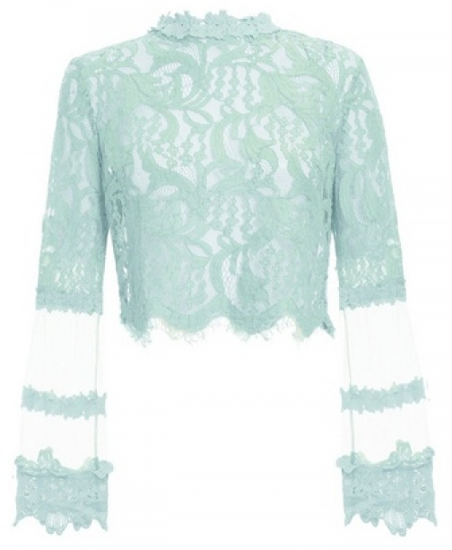 Quiz Mint Lace Mesh Crop Top