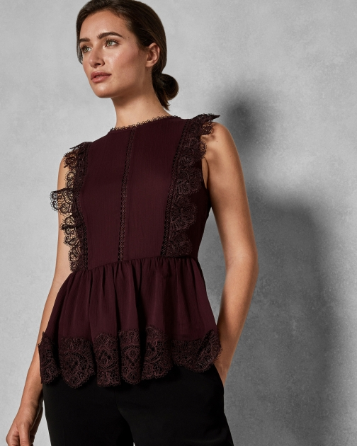 Ted Baker Mixed Lace Peplum Sleeve Top
