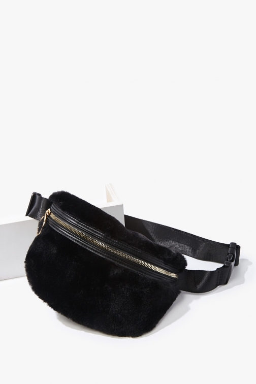 Forever21 Forever 21 Plush Faux Fur , Black Fanny Pack