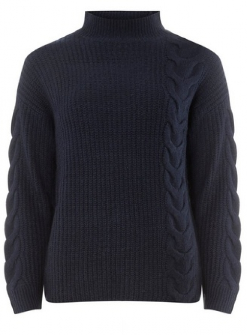 Dorothy Perkins Womens Navy High Neck Cable - Blue, Blue Jumper